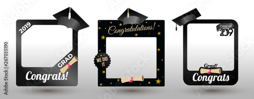 Obraz Set of graduation party photo booth props. Concept for selfie. Frame with cap for grads. Photobooth vector element. Congradulation grad quote. Vector illustration. Isolated on white background. - fototapety do salonu