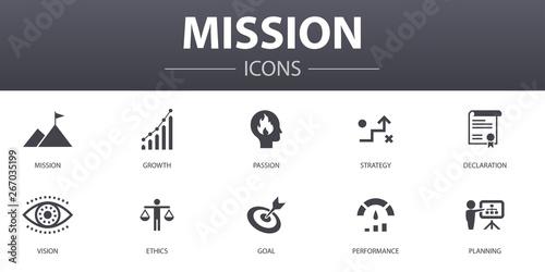 mission simple concept icons set Canvas Print