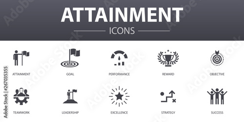 Photo attainment simple concept icons set