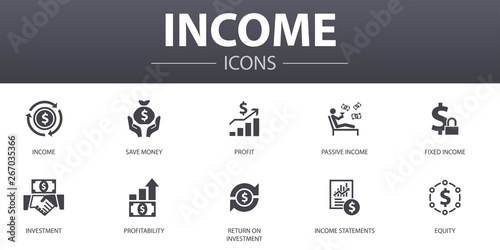 Fototapeta Income simple concept icons set. Contains such icons as save money, profit, investment, profitability and more, can be used for web, logo, UI/UX obraz
