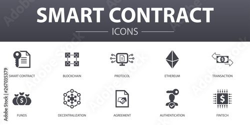 Fotografía  Smart Contract simple concept icons set