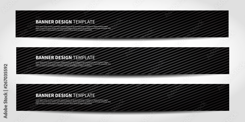 Fototapeta Vector banners with abstract geometric background. Black Website headers