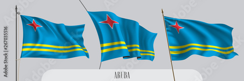 Set of Aruba waving flag on isolated background vector illustration Canvas Print