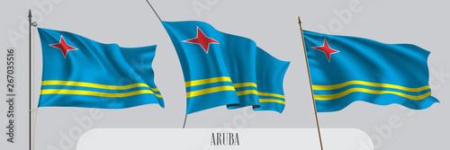 Photo Set of Aruba waving flag on isolated background vector illustration