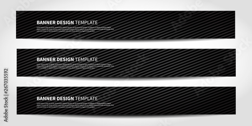 Fototapeta Vector banners with abstract geometric background. Black Website headers obraz