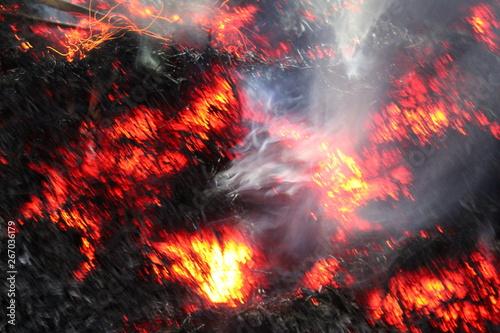 Valokuvatapetti Fire sparks black background, burn effect, burning fire and smoke, sparks fire background