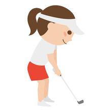 若い女性のイラスト。スポーツのゴルフを楽しんでいる若い女性。