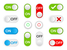 Set Icon On And Off Toggle Switch Button. Vector Illustration.