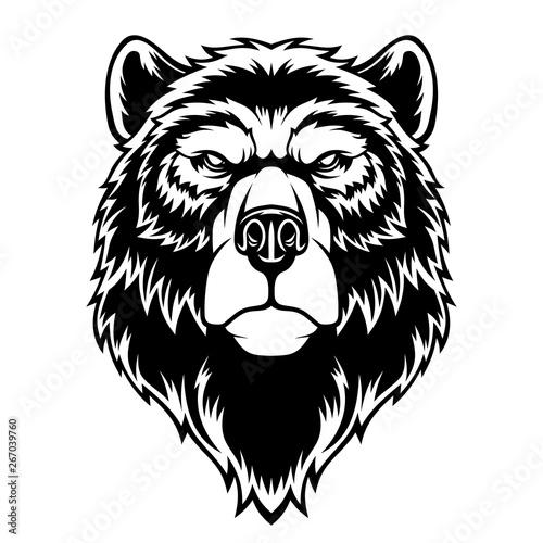 Poster Croquis dessinés à la main des animaux Bear head mascot.