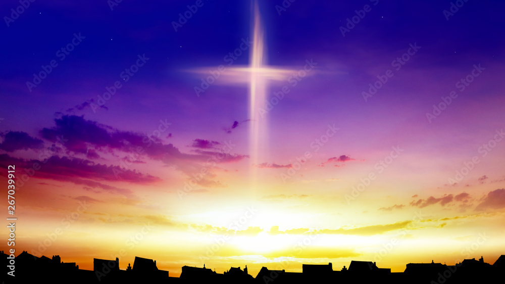 Fototapety, obrazy: Heaven of paradise and silhouette of the city .  Glowing cross in sky . Happy Easter. Light from sky . Religion background .