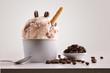 Leinwandbild Motiv Composition of coffee ice cream ball in paper cup