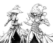 Two Witches In Dynamic Poses, Drawn With Imitation Pencil