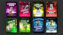 Collection Of Stand Up Show Posters Set Vector. Microphones, Bright Confetti, Multicolored Curtains Depicted And Calligraphy Text On Funny Comedy Performance Posters. Realistic 3d Illustration