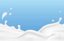 Milk Splash Seamless Pattern. 3d Realistic Yogurt Wave Border On Blue Background. Vector Milky Package Design.