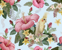 Floral Seamless Pattern. Pink Hibiscus And Frangipani Flowers, Yellow Australian Parakeet, Fantasy Tropical Foliage On A Light Blue Background. Wallpaper, Batik Paint, Chintz Design