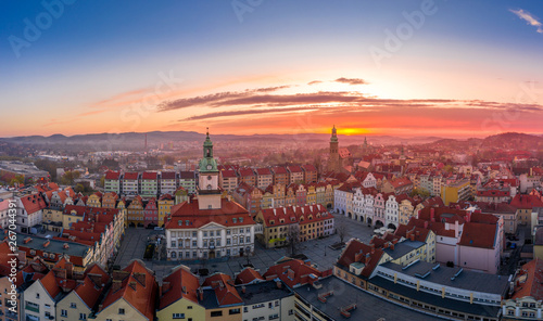 Obraz Sunset over Jelenia Góra aerial view - fototapety do salonu