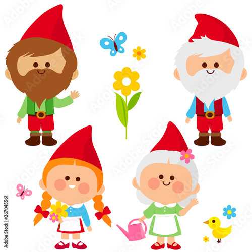 Photo Cute male and female garden gnomes. Vector illustration set