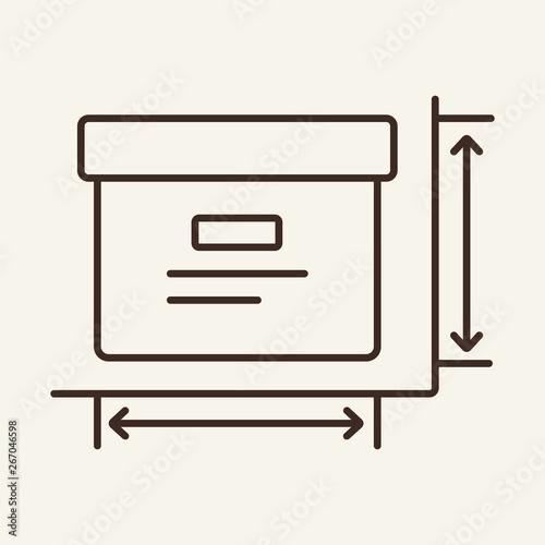 Box dimensions line icon Canvas Print