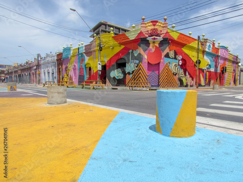Keuken foto achterwand Brazilië Colorful colonial houses of Fortaleza, Brazil