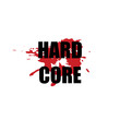 Hard core - vector stylized heavy rock music logo with black font and red blood spot on white background. Grunge hardcore label. Tattoo or t shirt print, poster or banner design - Vector