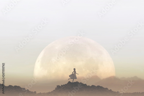 Fotografia woman runs free in the middle of nature in a lunar landscape