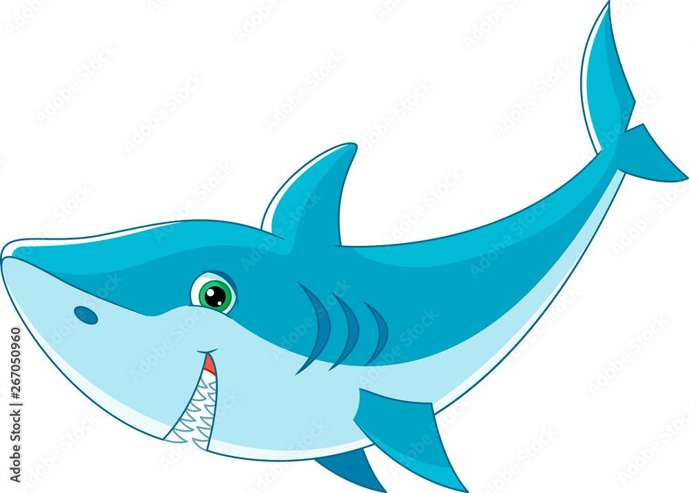 Fototapety, obrazy: Cartoon shark on white background