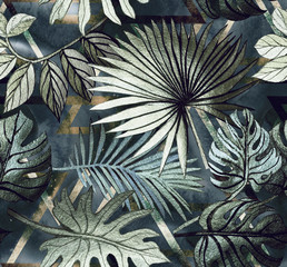 Fototapeta Malarstwo Seamless pattern with tropical leaves and geometric shapes. Tropical background.