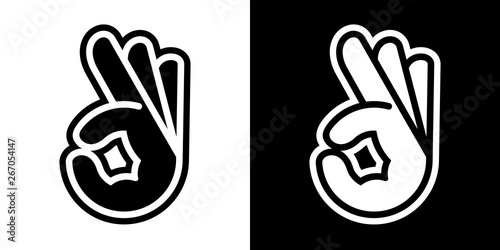 Obraz Stylized vector illustrations of human hand with OK sign; icons, isolated on white and black backgrounds. - fototapety do salonu