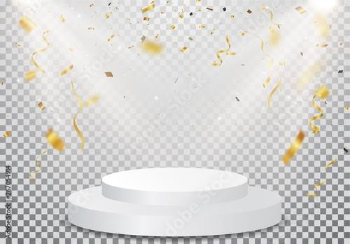 Cuadros en Lienzo winner podium with Gold confetti celebration on transparent background