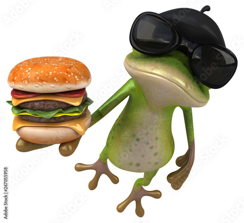 Fun french frog - 3D Illustration - 267055958