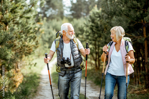 Obraz Happy senior couple hiking with trekking sticks and backpacks at the young pine forest. Enjoying nature, having a good time on their retirement - fototapety do salonu