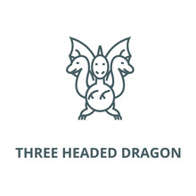 Three Headed Dragon  Vector Line Icon, Outline Concept, Linear Sign