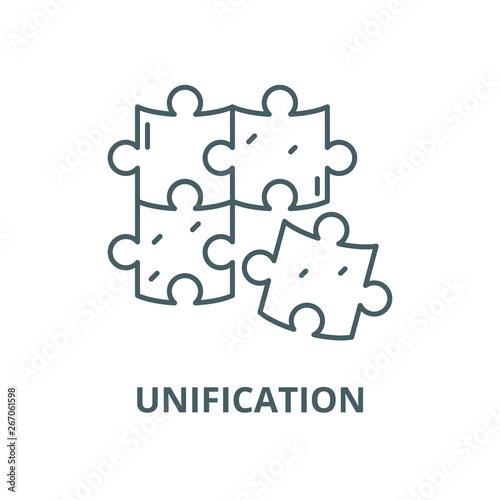 Fotografie, Obraz Unification vector line icon, outline concept, linear sign