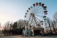 Old Ferris Wheel In Abandoned Amusement Park In Elektrenai City, Lithuania.