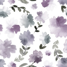 Seamless Watercolor Floral Print In Dusty Purple And Gray.