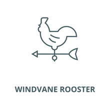 Windvane Rooster Vector Line Icon, Outline Concept, Linear Sign