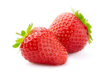 Two Strawberries On White Back...