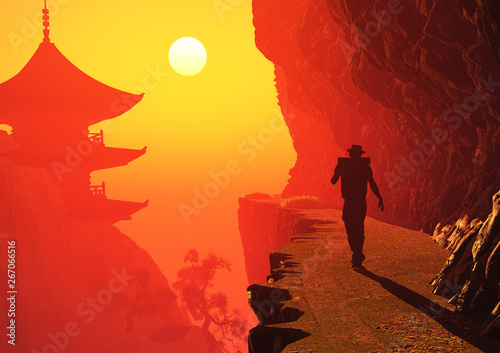 Garden Poster Red Buddhist temple at dawn.