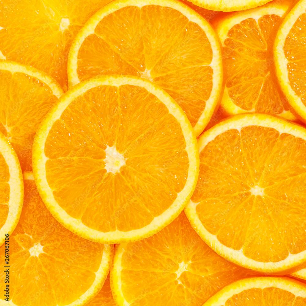 Fototapety, obrazy: Oranges citrus fruits orange collection food background square fresh fruit