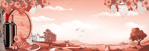 Fotografia  Panorama of nature-sunrise over the vineyard in red