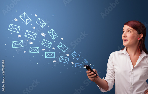 Businesswoman using phone with online communication concept around
