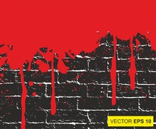 Blood Splattered. Abstract Background. Big Realistic Blood Splashed On Brick Wall. Vector Illustration. The Concept Of Dread, Anxiety And Of Something Terrible