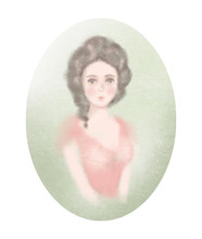 Easy Sketch Of Portrait Of A Young Historical Girl On Green Oval Background. Watercolor And Lead Pencil Graphic Hand Drawn Illustration