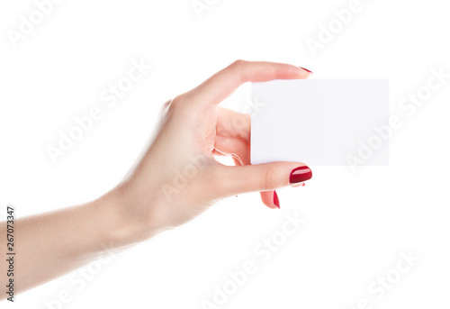 Woman's hand holding blank black card Tablou Canvas