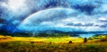 Beautiful Landscape, Green And Yellow Meadow And Lake With Mountain On Background With A Rainbow In The Sky And Computer Painting Effect.
