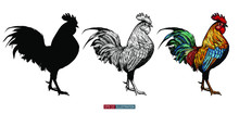 Hand Drawn Roosters Set.  Engr...