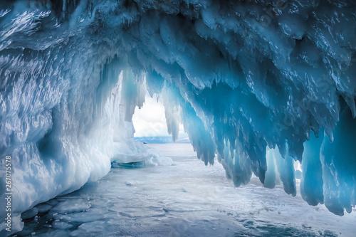Fabulous ice cave on lake Baikal. Eastern Siberia, Russia Fototapeta