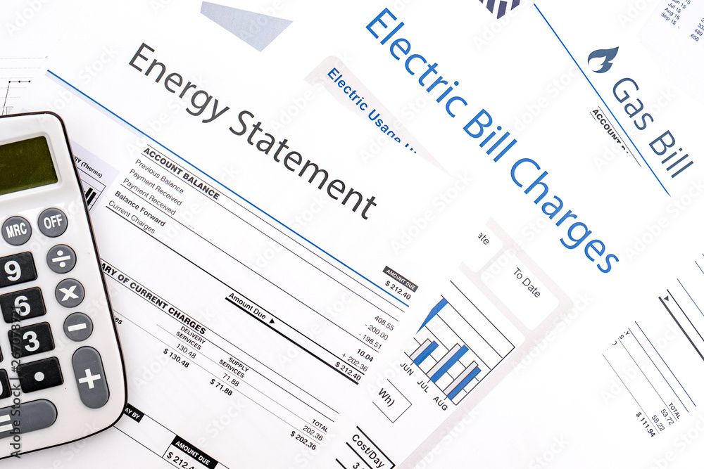 Fototapeta Energy efficiency concept and energy bill papers