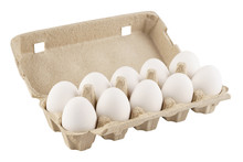 Eggs In An Egg Carton On A White Background. Isolated.