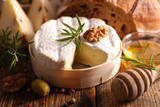 camembert with bread, pear and honey